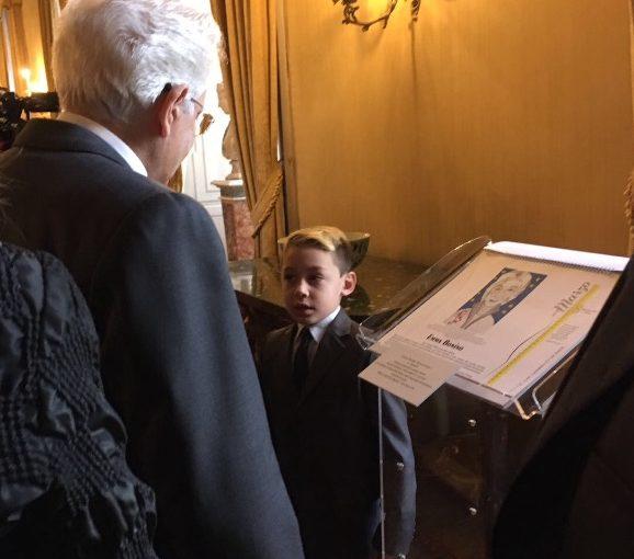 Il Presidente Mattarella con Matteo Celano