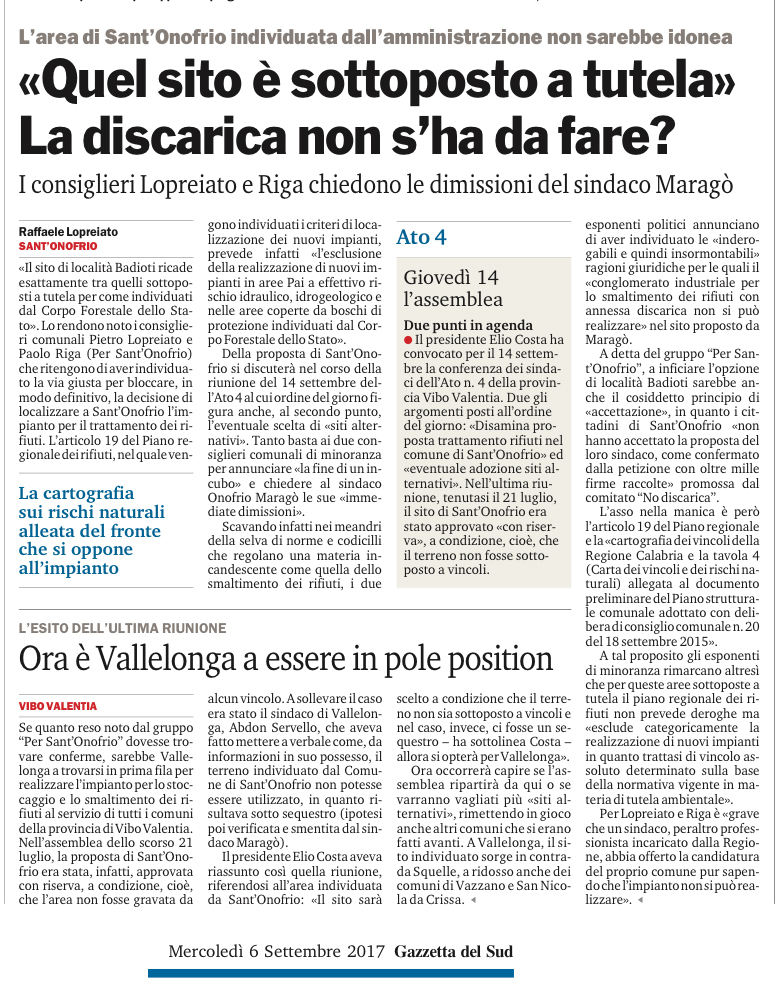 Gazzetta del Sud 06/09/2017
