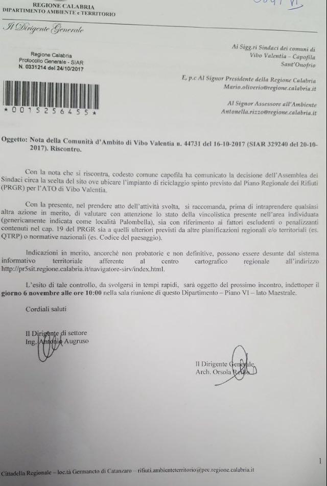 la nota di convocazione della Regione Calabria