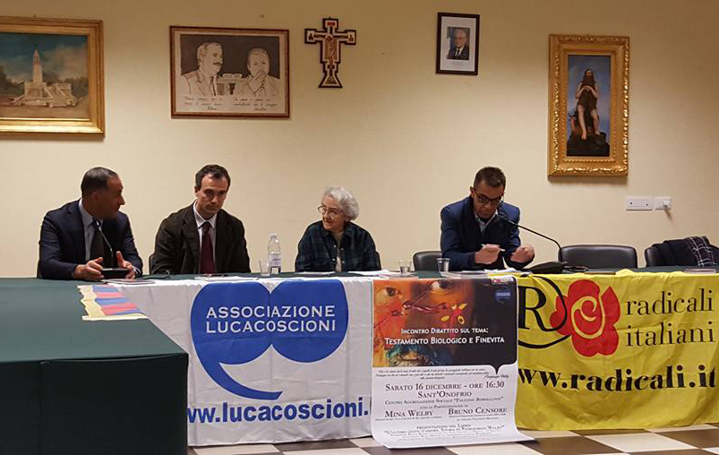 I relatori on. Bruno Censore, Rocco Ruffa e Mina Welby
